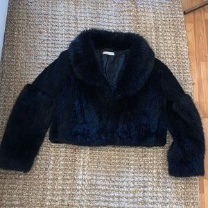 Chunky H&M multi-textured black cropped jacket